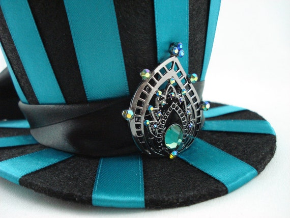 Pride of Juno - Teal Striped Mini Burlesque Peacock Top Hat Made to Order