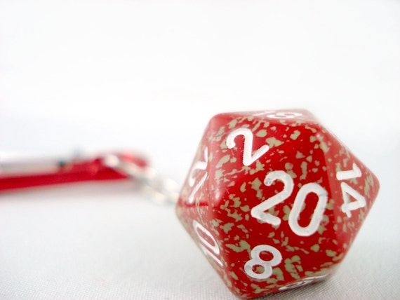 Red with Tan Splatters D20 Carabiner Keychain