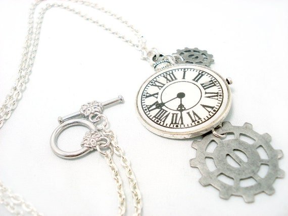 Tick Tock The Silver Steampunk Clock Necklace