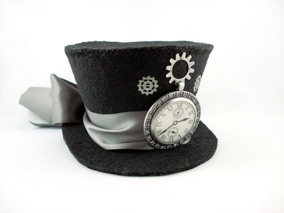 Tick Tock Silver Steampunk Clock Mini Top Hat Fascinator - Made to Order