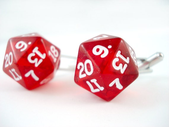 Translucent  Bright Red D20 Dice Cuff Links