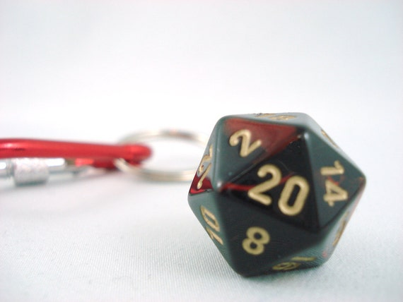 Premium Gemini Metallic Red Black and Gold D20 Keychain