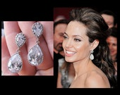 SALE Celebrity Bridal Earrings Post Earrings - Inspired by Angelina Jolie's Elegant Style - Clear Crystals and Silver - Wedding Jewelry