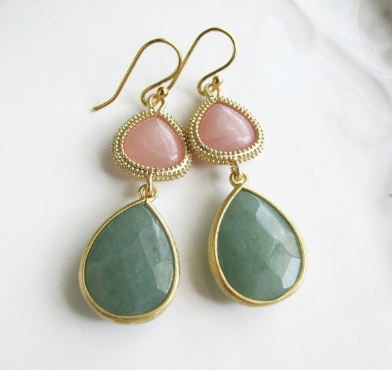 SALE Jade and Vermeil Earrings in Natural Stone - Soft Pink Jade and Seafoam Green Jade - Elegant Preppy Chic Valentine Gift for Her