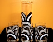 Retro Mad Men Colony Glass Bar Set Black and White Arches