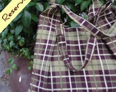 Plaid Green & Eggplant purple hoops shoulder bag
