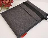 iPad Wool Felt Case in Anthracite with Elastic Trim and Avocado Interior Pocket