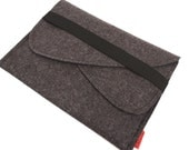 iPad Mini Wool Felt Sleeve/Case with Double Pocket and Elastic Trim Side Load in Anthracite
