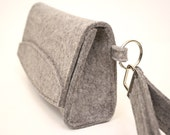 Clutch for iPhone, Wallet, Cords in Wool Felt in Granite