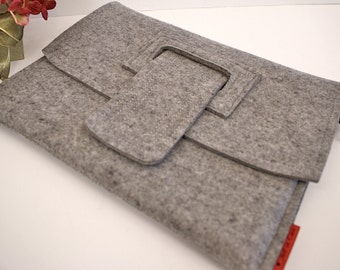 iPad Case Wool Felt Granite with Strap and Side Load