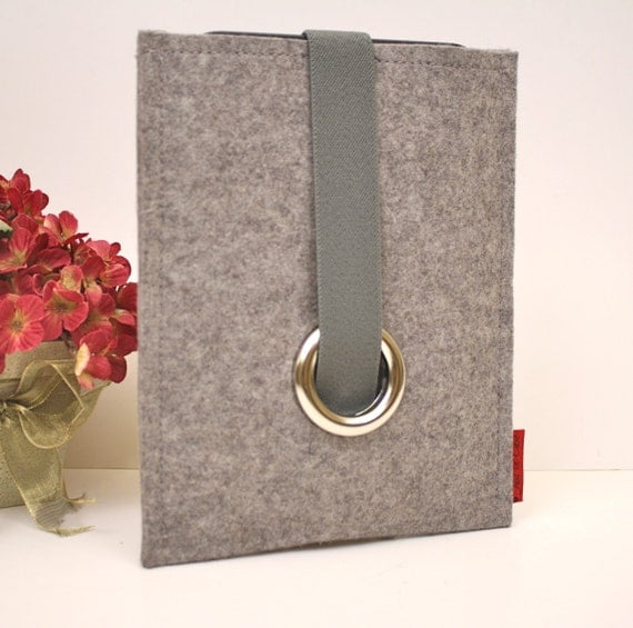 iPad 2 Case Wool Felt in Granite with Elastic and Silver Eyelet