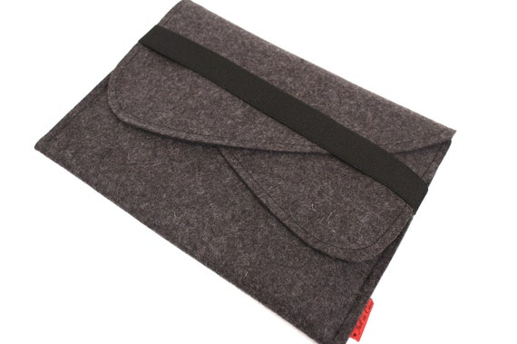 iPad Wool Felt Sleeve/Case with Double Pocket and Elastic Trim Side Load in Anthracite