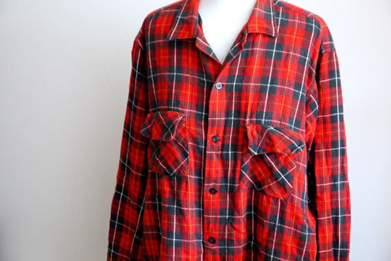 Vintage Sears Red Flannel Shirt Circa 1970's