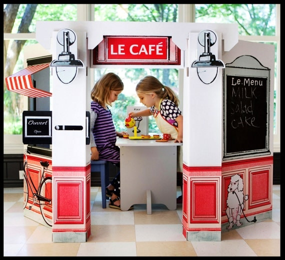 Items Similar To Kids Cardboard French Cafe On Etsy