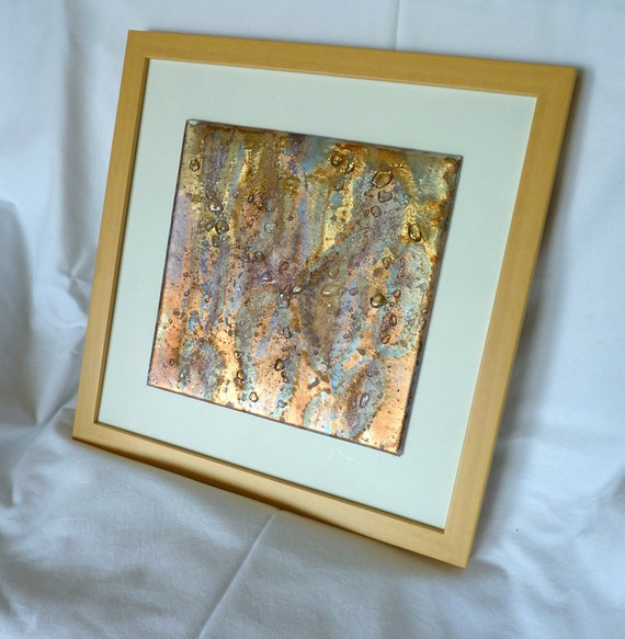 Glass art picture- OOAK handpainted fused glass, iridescent, fused glass, art glass