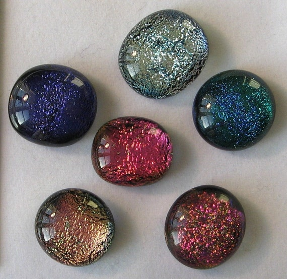 Fused glass cabochons, 6 dichroic glass cabs for jewelry making and crafting