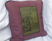 Throw pillow  with recycled bookcloth cover from 'Washington Irvings Works' c1890