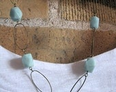 Amazonite and antique brass hoop linked necklace