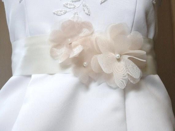 Floral Bridal Sash, Floral Bridal Belt, Champagne Antique White Ivory Bridal Belts Sashes, Organza Bridal Sash, Wedding Sash. Ready to Ship