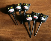 Six vintage black cat cake toppers - cupcake toppers deadstock