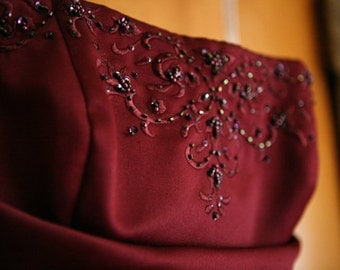 Maroon Dress - Winter Formal Gown Dance Homecoming Prom Dress With Shawl - Small Size 0 1 xs