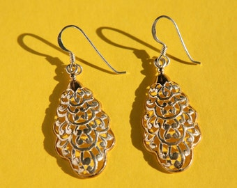 Sterling Silver Filigree Earrings - Dangly Wire Back - Gift For Mom - Gift For Grandmother - Gift For