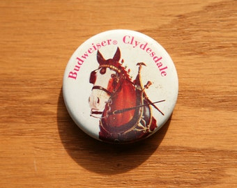 Budweiser Clydesdale Horse - Vintage Pinback Button - 1970s Beer Advertising - Anheuser Busch