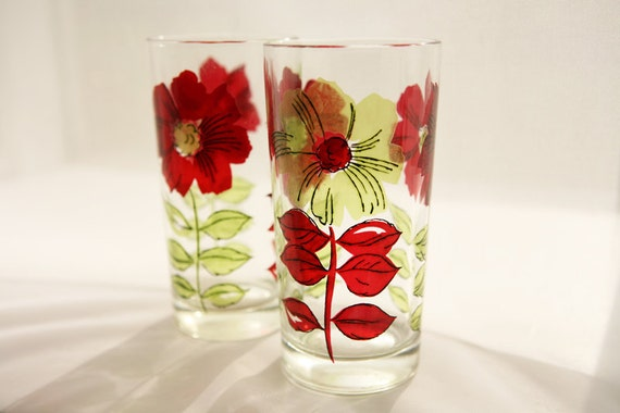 Mod 1970s Vera -esque floral glasses - set of two