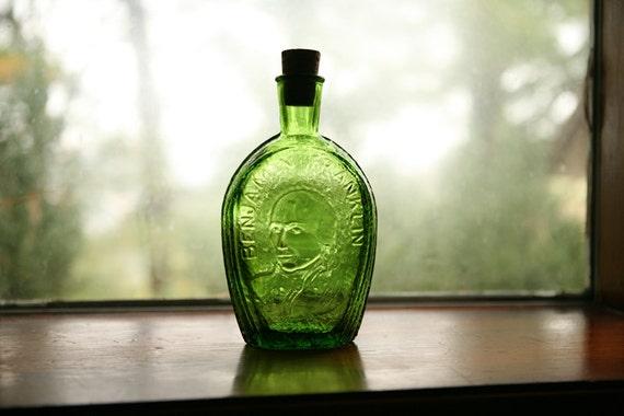 Benjamin Franklin - Ben Franklin's glass house - green glass bottle - Wheaton Glass Company