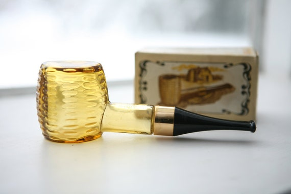 Vintage 1970s Avon cologne after shave bottle - corn cob pipe - amber yellow glass bottle IN ORIGINAL BOX