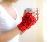 Fingerless mittens gloves - red scarlet wool wrist arm warmers lacy crochet winter accessories  lace fashion
