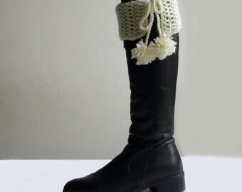 Crochet PATTERN Leg warmers, pom pom boot cuffs,  PDF, DIY tutorial, easy beginner pattern ,  winter accessories