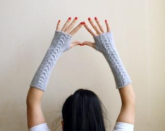 Fingerless Gloves fingerless Mittens Long Wrist Warmers Arm warmers textured grey cable knit women mittens gift