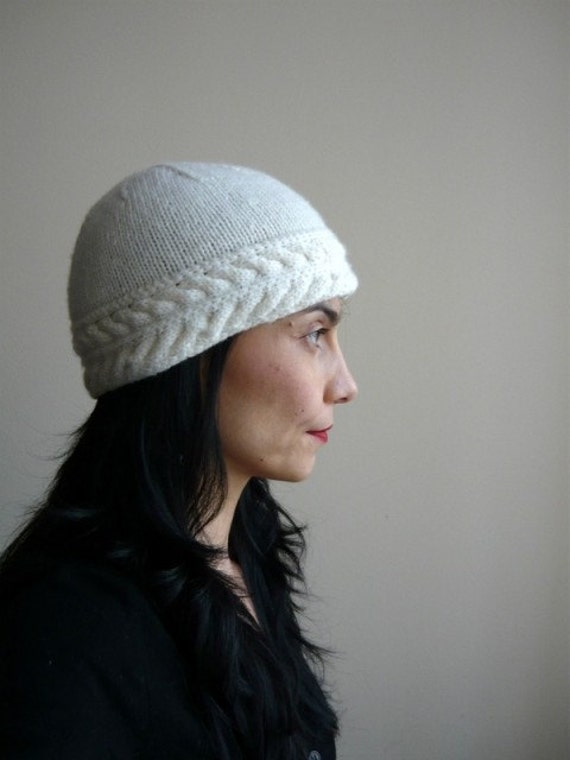 Hat knit Double Braid Clouch - city, ski beanie  - offwhite -cable winter hat SALE
