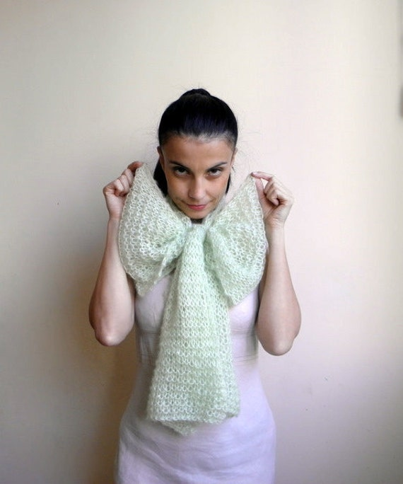Scarf Extra Long -  luxurious mohair yarn - mint sage green