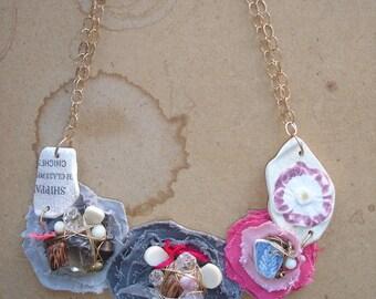 SALE: pink/gray bib necklace