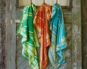 "Green & Yellow Silk Scarf: Original Artwork from the ""Aviva Print"" Series"