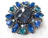 Vintage 1950s Weiss Blue Brooch - Cobalt Rhinestone Pin - Bridal Fashions