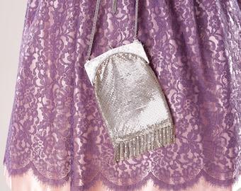 Vintage 1970s Whiting Davis Purse Silver Mesh Fringe Shoulder Bag Bridal Fashions