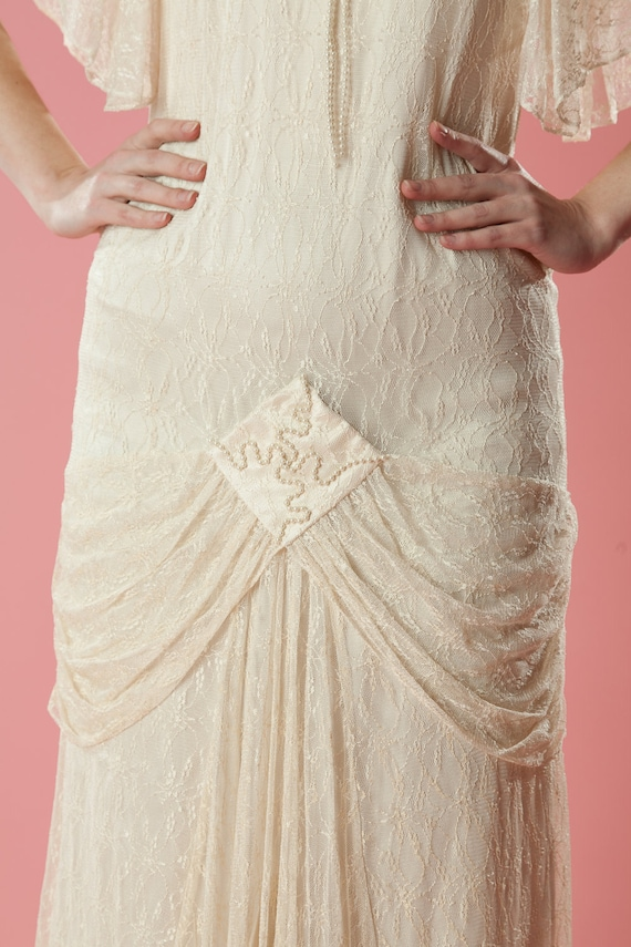 Vintage Wedding Dresses Art Deco : Vintage art deco wedding dress s does lace drop waist bridal