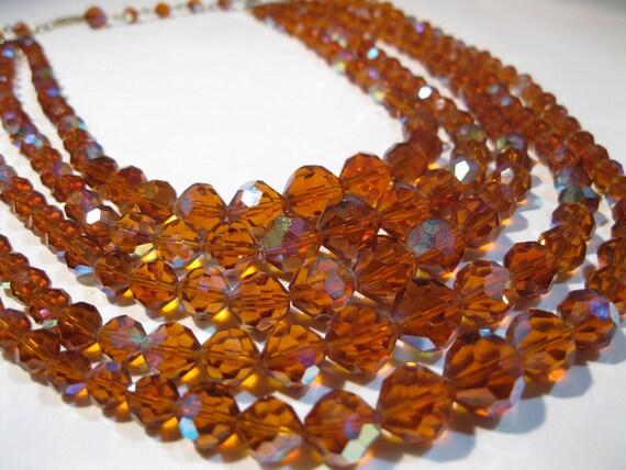 Vintage 1960s Crystal Wedding Necklace Laguna Orange Aurora Borealis Bridal Fashions 1950s
