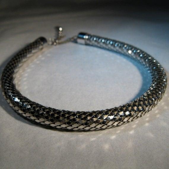 Vintage 1950s Whiting Davis Necklace Silver Snake Mesh Choker Bridal Wedding Fashions