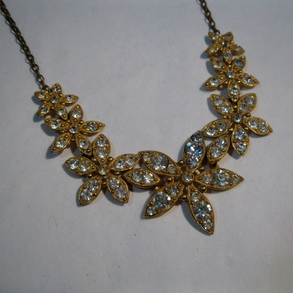 Vintage 1930s Wedding Necklace Golden Rhinestone Flower Bridal Fashions 1940s