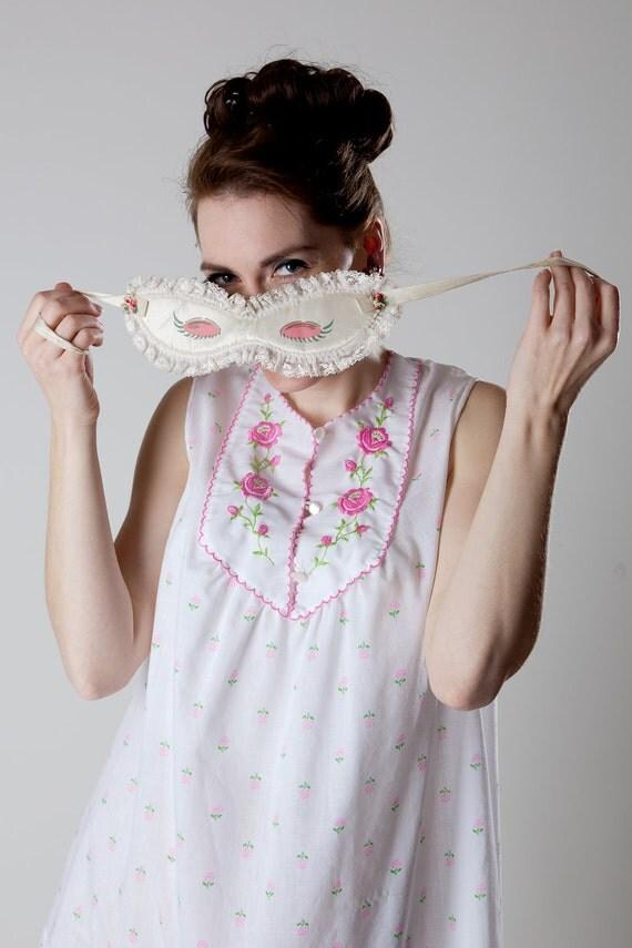 Vintage 1960s Lingerie Babydoll Nightie Pink Floral Bridal Trousseau Fashions