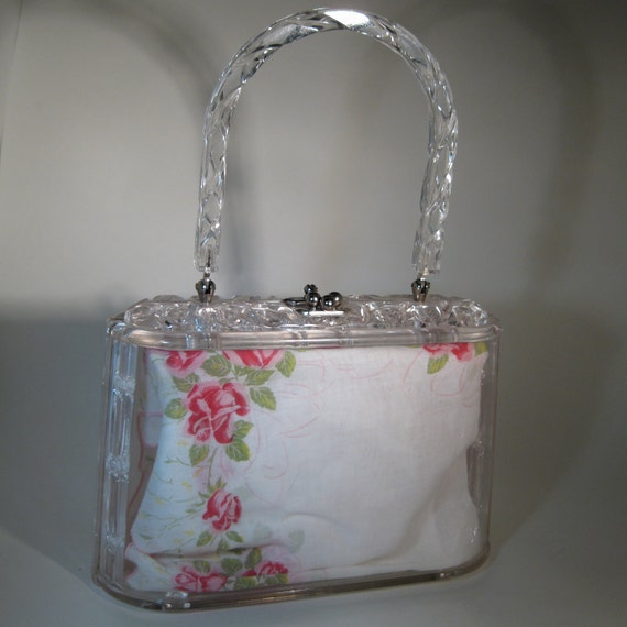 RESERVED Vintage 1950s Carved Lucite Purse Clear Wedding Bridal Fashions VLV