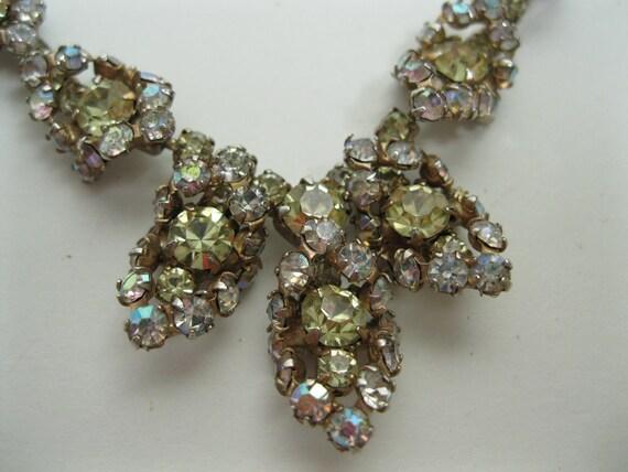 Vintage 1950s Wedding Necklace Citrine Rhinestone Aurora Borealis Bridal Fashions