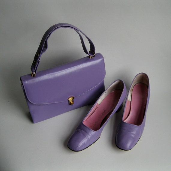 RESERVED Vintage 1960s Purse Shoes Pansy Purple Leather Vinyl Mad Men Bridal Fashions Size 8 9