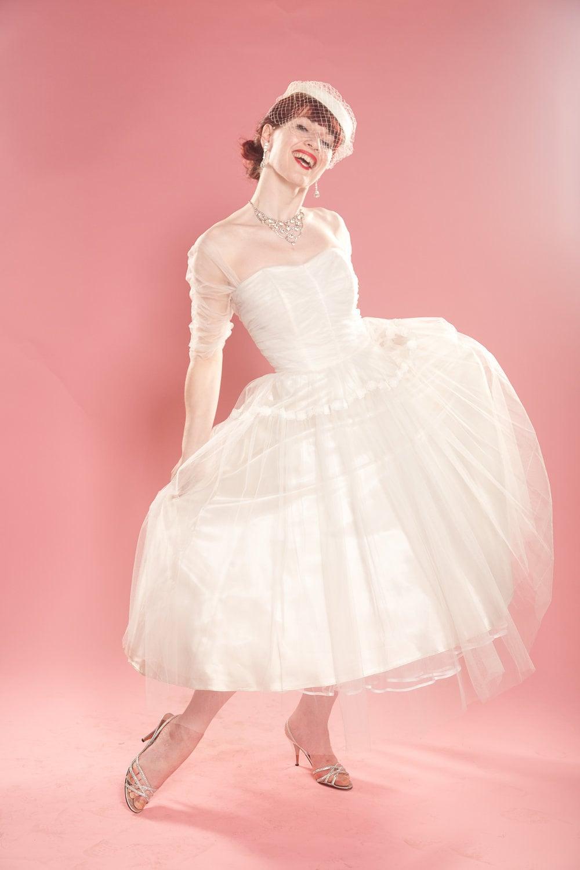Vintage 1950s Tulle Wedding Dress Lace Sleeve Bolero