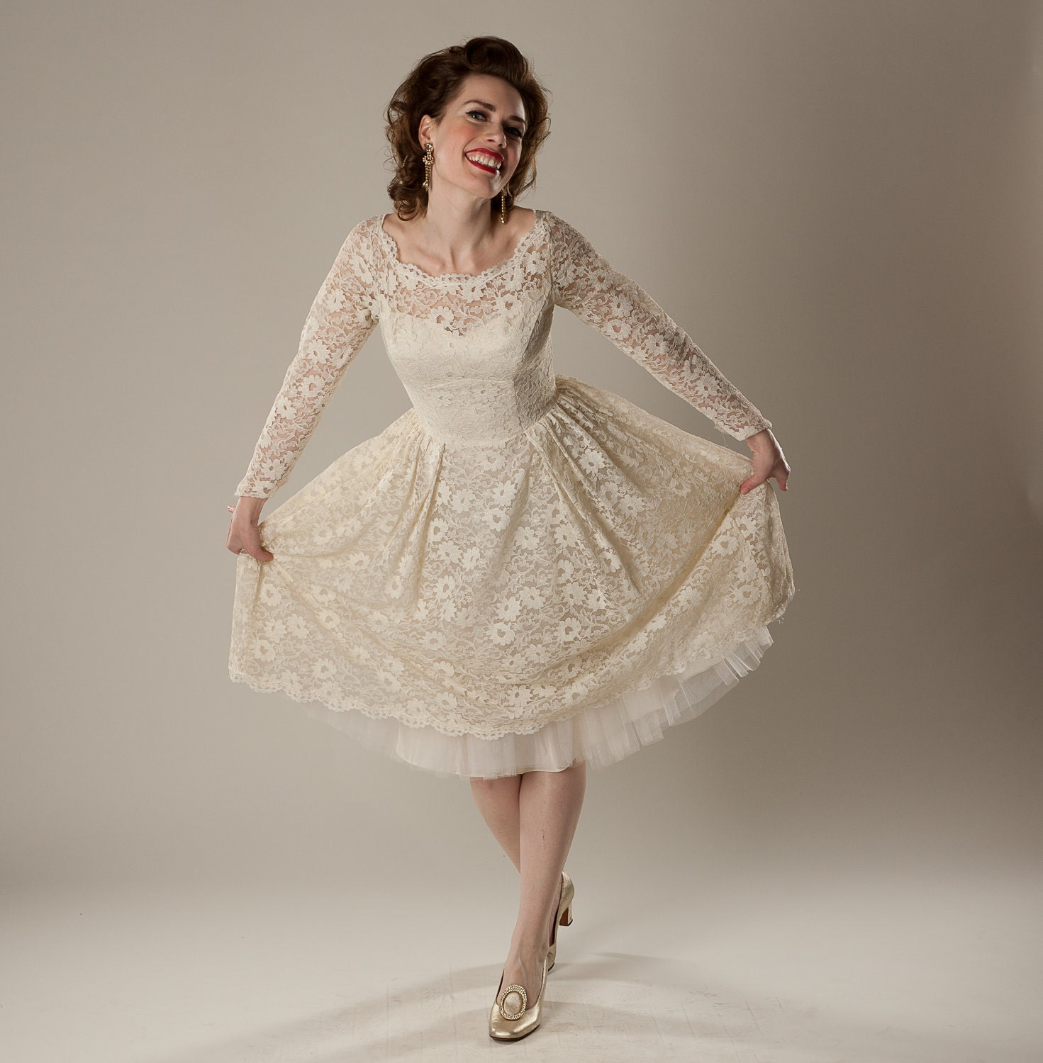 Reserved Vintage 1950s Lace Wedding Dress Cream By