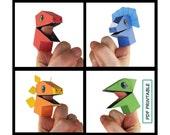 Dinosaur Finger Puppet Set of 4- Papercraft PDF Printable